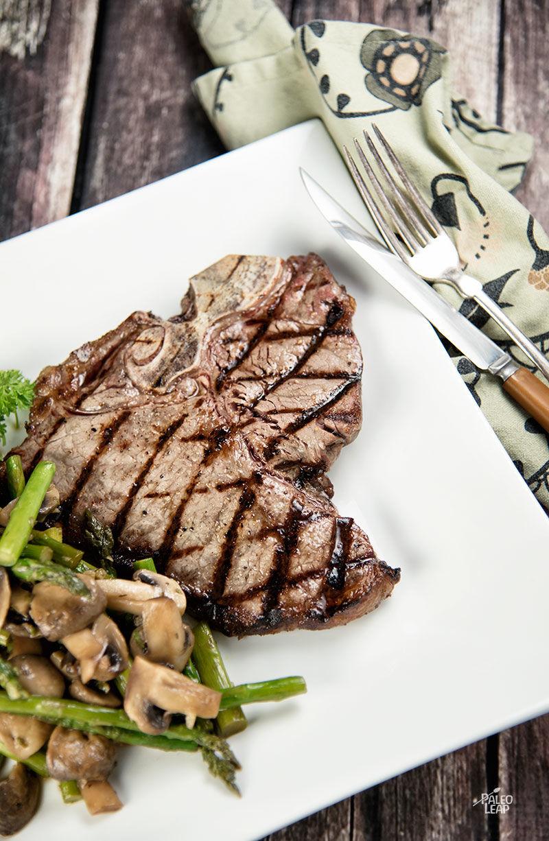 Grilled T-bone Steaks With Asparagus And Mushroom Stir-Fry